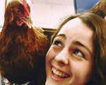 Vet student with chicken